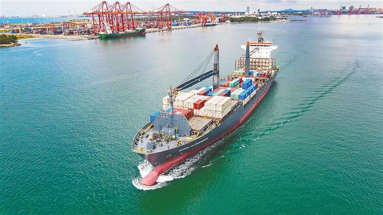 洋浦-南太-澳洲集装箱航线在洋浦小铲滩码头开通运营