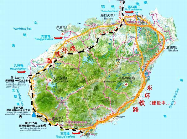 海南省动车环岛地图